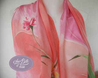 Pink silk shawl scarf painted by hand, romantic floral, wedding, gift for her silk scarf