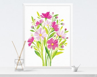 Spring Art, Spring Decor | Flower Painting, Watercolor Floral Wall Art, Spring Flowers Illustration | Instant Download Spring Wall Art