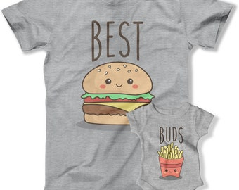 Daddy And Me Shirts, Dad And Son Gifts, Father Daughter Tops, Matching Family T Shirts, New Daddy, Best Buds Burger And Fries TEP-1137-1138