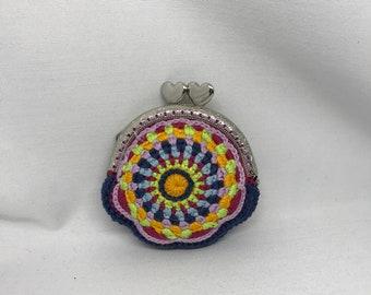 Purse, little purse, colorful purse,handmade in France, crocheted purse, handbag, women's gift
