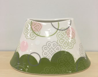 handmade porcelain Large low oval vase: Dot Dot Doily by Meredith Host,