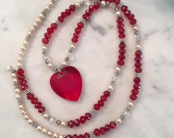 Red and white with vintage Lucite heart from West Germany