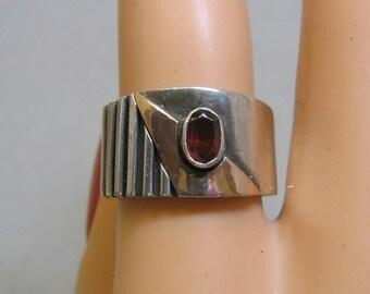 Wide Sterling and 10KT Gold Band Ring, Size 7.25,  Vintage, Avant Garde