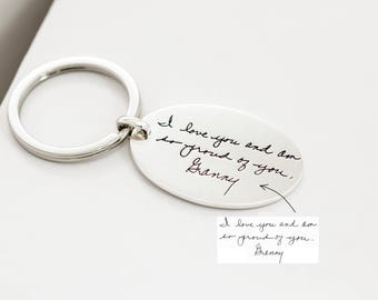 Grandma Gift • Engraved Actual Handwriting Keychain • Custom Quote Keychain • Hand Stamped Keepsake Jewelry • Mom Personalized Gift • CM26