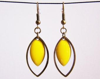 Brass ring and lemon yellow enameled sequin earrings