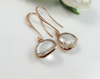 Crystal Earrings, Rose Gold Earrings, Minimalist Earrings, bridesmaid Earrings, Bridal Jewelry, Wedding earrings, April Birthstone, Silver