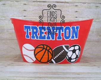 Personalized Custom Sports Basketball Football Soccer Baseball Birthday Gift Easter Basket or Storage