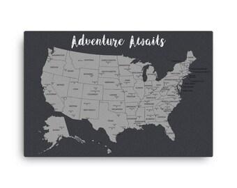 United States Push Pin Map, Travel Map, Adventure Awaits, Map Poster, Travel Board, Wedding Gift, Anniversary Gift, USA Map, US Push Pin Map