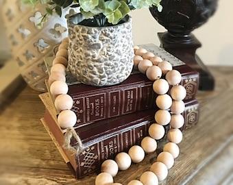 Wood Bead Garland, Natural Wood Garland, Bead Garland Strand, Decorative Garland, Holiday Garland