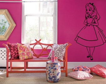 Wall Sticker Decals Alice In Wonderland Cartoon Rabbit Tea Time Cheshire Cat Girl Nursery Bedroom 1403b