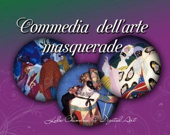 Commedia dell'arte Masquerade INSTANT DOWNLOAD 2.5 inches decoupage images magnets Scrapbooking Collage Sheet