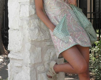 Pink Paisley Sun Dress with Applique Pockets