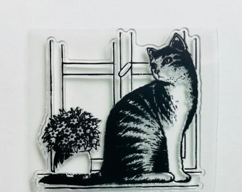 New -for Rubber Stamping, Scrapbooking & Handmade Cards 1 Clear Acrylic Stamp Cat #50