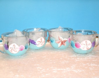 SEASHELL COFFE CUPS, set of four