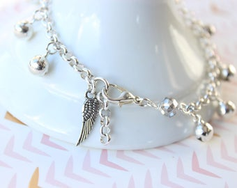 Bell Anklet with Wing Charm | Women's Silver Jingle Bell Ankle Bracelet, Flower Girl Gift, Gypsy Baby, Beach Wedding Boho Birthday Girl gift