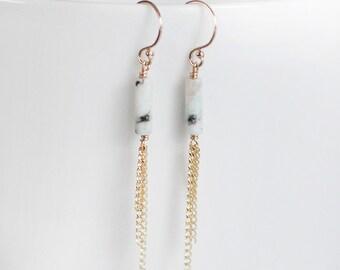 lila - gold tassel earrings