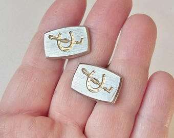 Horse Rider Cufflinks Horse Riding Cuff Links Vintage Sporting Brushed Silver & Gold Tone Crop And Horseshoe