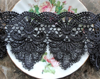 Reneabouquets Trim- 4 Inch Wide Elegant Black Embroidered Lace