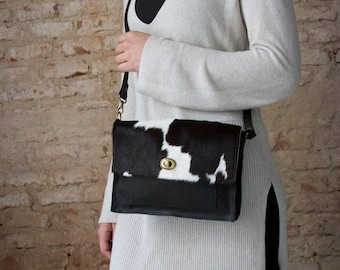 Small black crossbody bag, flap leather purse, small black leather bag, mini crossbody purse, cowhide bag, cowhide crossbody bag