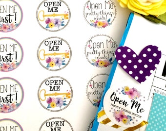 Open Me, Open Me Pretty Things Inside, Open Me First...Floral & Colorful Shipping Stickers