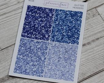 Blue Glitter Headers | Multicolour Rainbow Functional Stickers for Erin Condren (Q037)