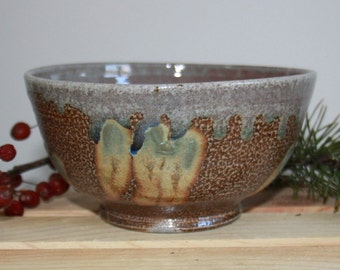 Red Green Silver Yellow Turquoise and Spotted Brown Salt Fired Ceramic Bowl, Modern Home Decor, Unique Clay Table Centerpiece