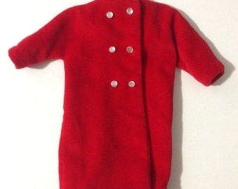 Vintage 1960's Barbie Doll Red Velour Handmade Coat With White Buttons Snaps and Hanger