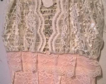 Music Sweet-Heart Halter Pink Rose Princess Maxi Dress - Handmade - Size M/L