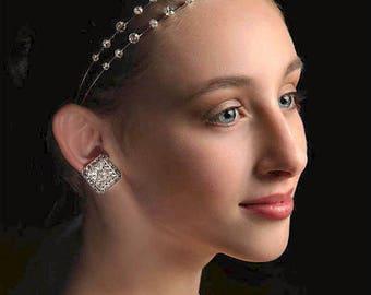 Clip On Wedding Earrings,  Swarovski Crystal Earrings, Fancy Wedding Jewelry, Statement Earrings, Special Occasion, Prom, Holiday