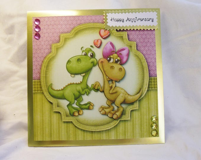 Dinosaur Anniversary Card, Wedding Anniversary Card,Love Card, Greeting Card, For the Perfect Couple, Any Age,