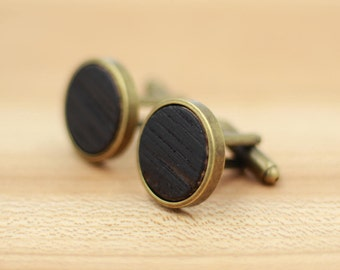 Kentucky Bourbon Whiskey Barrel Wooden Cufflinks - Antique Bronze Cufflinks - Groomsmen gift - 5th Wedding Anniversary Present