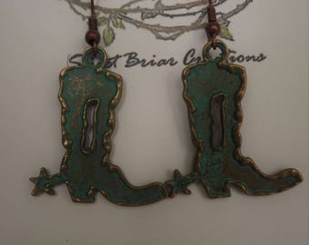 green patinaed with gold accent, cowboy boot earrings.   western themed, 2 inches long