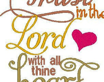 Trust in the Lord Spiritual Embroidery Design