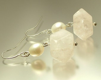 Handmade jewelry silver plated, freshwater pearl and rose quartz nugget earrings - jewelry jewellery UK seller