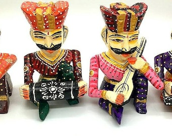 wooden rajasthani 4 pieces musical doll set