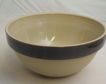 Vintage French Salt Glazed Stoneware Bowl - 11 inches in diameter