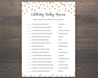Coral, Mint Green, Gold, Baby shower games, Celebrity baby name, Gold baby shower, Printable baby shower game, Celebrity baby names, S024