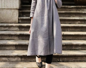 Linen Tunic Dress Grey Dress , Long Linen Dress, Linen Shirt Dress, Oversized Dress, Linen Kaftan Dress, linen tunic, Grey Dress, Boho
