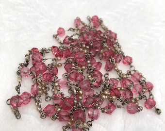 Long Pink Beaded Vintage Necklace