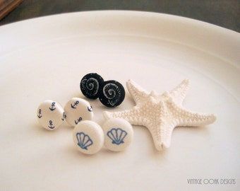 Seashell Earrings, Button Earrings, Button Studs, Fabric Button Studs, Anchor Earrings, Nautical Earrings, Nautical Studs, Bridesmaid Studs