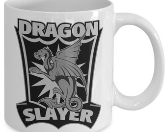 Dragon Slayer Greyscale 11oz White Coffee Cup