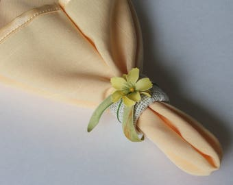 Yellow flowers Napkin rings set of 4