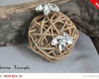 Sale -  Handmade Bridal Swarovski Rhinestones Stud Earrings