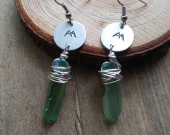 Mountain aura quartz earrings