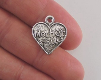 8 Mother Heart charms, 18x16mm, antique silver finish