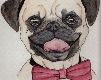Original Pug with Bow Tie Water Color Portrait Painting