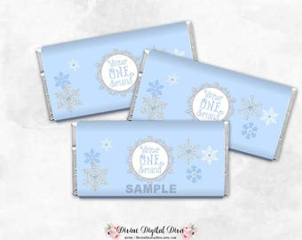 Winter Onederland Blue Silver Snowflakes Wonderland  | Candy Bar Wrappers Full Size | Digital Instant Download