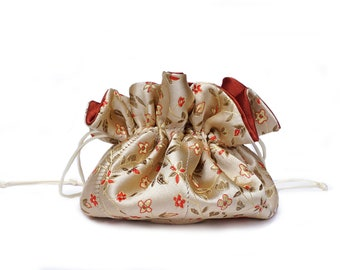 Draw String Jewelry Travel Pouch Bag Tote - Pale Gold with  Delicate Flowers Brocade Satin with Deep Brick Red Satin Lining