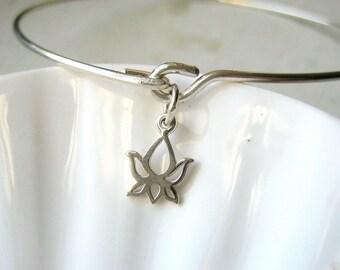 Lotus Bangle Bracelet  - Sterling Silver Bangle - Stacking Bracelet
