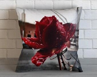 Street Rose Throw Pillow, Decorative Pillow